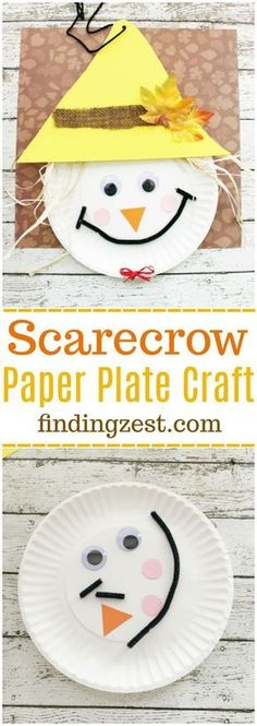 Scarecrow Paper Plate Craft for Thanksgiving or fall! This kid craft is perfect for preschool and elementary school aged kids. #artsandcraftsforthanksgiving,