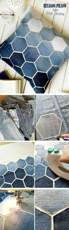 Check out how to make a DIY decorative hexagon pillow form old jeans DIY Home De. : Check out how to make a DIY decorative hexagon pillow form old jeans DIY Home Decor Ideas @ ISD Old Clothes, Clothes Crafts, Sewing Clothes, Artisanats Denim, Denim Purse, Sewing Crafts, Sewing Projects, Sewing Diy, Sewing Jeans