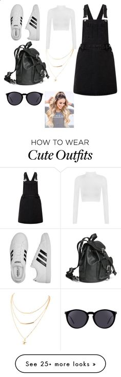 Cute summer pinafore outfit by chloe-jenkinson on Polyvore featuring Lipsy, Yves Saint Laurent, adidas, WearAll, 5sos, pinafores and 60secondstyle