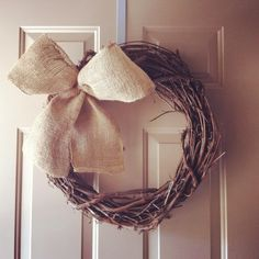 DIY grapevine & burlap wreath. May add some burlap flowers  or the house number