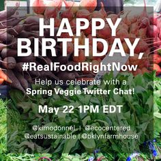 Join our Spring Veggie Twitter chat on Weds, May 22 at 1pm ET! We're celebrating #RealFoodRightNow, our weekly seasonal food series, and look forward to seeing you with your questions and veggie love!