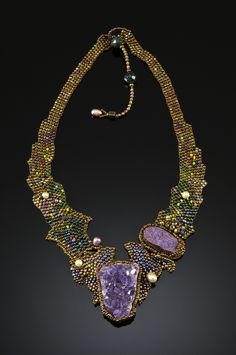 ~~AMETHYST AND PURPLE DRUSY NECKPIECE by Amolia Willowsong - Large Brazilian amethyst cluster and purple titanium drusy combine with purple, green and gold beadwork in this stunning piece~~