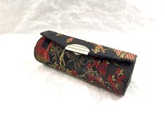 ON SALE Vintage Lipstick case Holder with mirror for purse black Asian accents ted interior