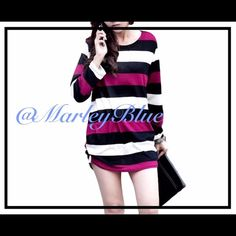 Comfy Oversized Fuschia & Black Striped Sweater Super comfortable and pretty! Oversized fit. Thin sweater material which is great because it doesn't give you that bulky feeling. Great to layer underneath. Looks super cute with leggings! Best seller at a recent holiday shopping party I sold at. You will love this sweater!! Approximate measurements... Measured lying flat. Width under arms 20 inches across;  21 inches at waist; overall length about 27 inches. If you would like to purchase…