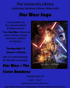 """I'm a part of #calpolypomona National Library Week again! This time I'm talking about """"How Star Wars influenced movie themes female characters fandom and fanfiction"""" #starwars #nationallibraryweek #speaking #movies #writing #screenwriting"""