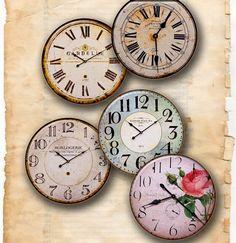 Clocks Old  Vintage Retro Antique Shabby Chic Style  -  Digital Collage Sheet, Download for Resin Pendant, Round Circle Images 135
