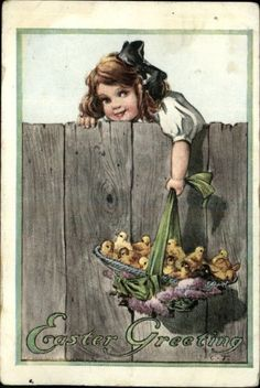 TWELVETREES Easter Girl Hat Chicks Fence c1910 Postcard