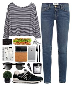 """""""Grace"""" by lelou-chantilly ❤ liked on Polyvore featuring Frame Denim, Status Anxiety, Lux-Art Silks, New Balance, Ray-Ban, Muji, H&M, NARS Cosmetics, canvas and Adia Kibur"""