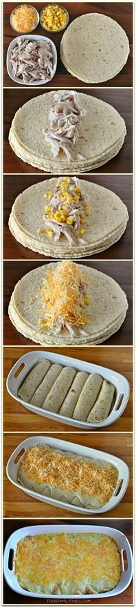 Easy  Creamy White Chicken Enchiladas    6-8 corn tortillas (enchilada size)  1 pre-cooked plain rotisserie chicken, shredded  1 cup sweet corn  4 cups shredded Mexican blend cheese, divided in half     Sauce:  3 tablespoons butter  3 tablespoons all purpose flour  1-1/4 cups chicken broth  1  10oz can cream of chicken soup  1 cup sour cream  1  4oz can chopped green chiles  1/4 teaspoon ground black pepper  1/4 teaspoon sea salt  Oven @ 350, 25-30 min