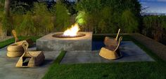 Asian Patio with exterior tile floors, Fire pit