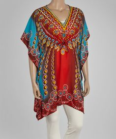 Look what I found on #zulily! Red & Turquoise Jewelry Tunic - Plus #zulilyfinds
