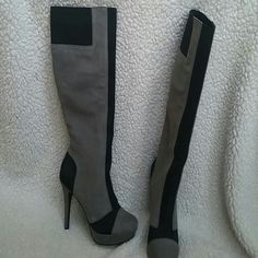 Jessica Simpson boots Grey and black suede boots.  Never worn.  The black material stretches making it easy to pull on since there are no zippers. Jessica Simpson Shoes