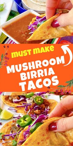 learn how to make popular mushroom birria tacos tonight. Double dip into this trendy taco trend with this vegan version #vegan #tacos #TacoTuesday #BirriaTacos #TrendyTacos #Fun #FamilyFriendly #Vegetarian #meatlessMonday #Mushroom #Veggie #Healthy #HealthyRecipes