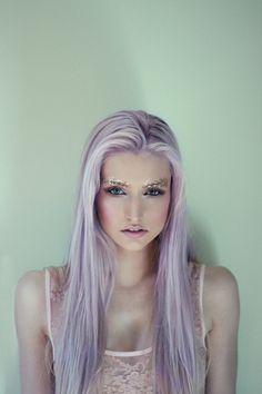 Glitter eyebrows lilac hair = fairytale magic