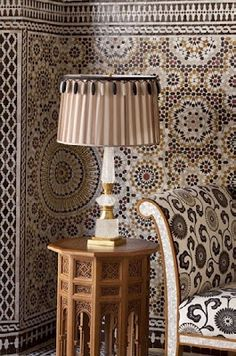 Moorish Interiors, Wall cladding geometric pattern composed by Girih tiles, Morocco
