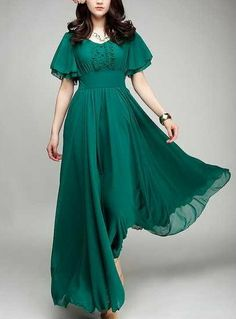 Beautiful! $78. Spring summer chiffon long dress lady women clothing gown.