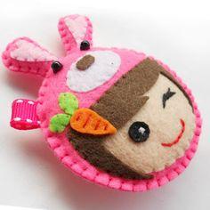 kawaii felt keychain/charm, girl wearing pink rabbit hat $6.00