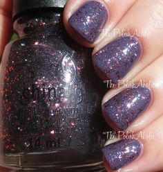 The PolishAholic: China Glaze Loco-Motive (tiny black/grey micro glitter and larger pinky copper hex glitter topcoat, swatched over dusty purple CG All Aboard)