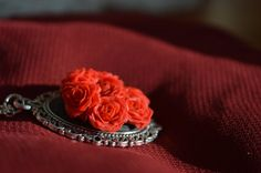 Red roses pendant by VeronikaBeke on Etsy