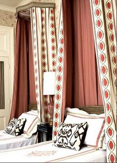 Twin guest beds  Melissa Rufty uses Ikat pillows