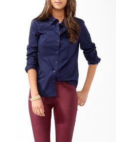 navy button up shirt, burgundy pants via ...