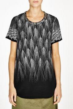 Geometric Wheat Print Silk Embellished T-Shirt by 3.1 Phillip Lim