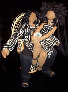 Sueded doll couple by Tanya Montegut of Dolls by MonTQ