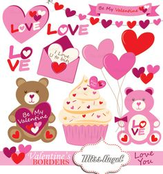 Cute Valentines Bear Clipart. Valentines day clip art. Hearts, bears, love letter, cupcake. Pink, red, 10 drawings 6 Instant Downloads.  U will conquer your loved one with this sweet clip art elements in red and pink.  Create the cutest Arts & Crafts projects! Perfect for Valentines Parties, Scrapbook & Paper Crafts, Posters & Bookmarks, Cards & Invitations, Stickers & Decals, Jewelry & Accessories, Web Design... ♥ DIGITAL FILES ONLY ♥ 10 colored high quality digital files Size aprox. 6, at…
