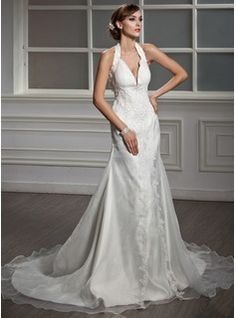 A-Line/Princess Halter Court Train Organza Satin Wedding Dress With Ruffle Lace Beadwork (002012015)