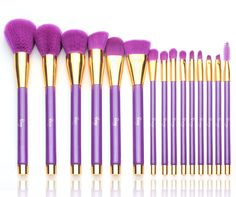 Makeup Brush Set Professional Soft Cosmetic Liquid Foundation Powder Brushes With Multifunctional Bag, Purple With Gold (15 Pieces) #affiliate