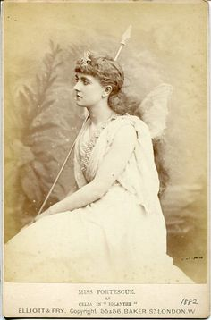 """Cabinet photograph of May Fortescue as Celia in the original DOC production of """"Iolanthe"""" in 1882. Photo by Elliott & Fry."""