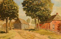 """Hein Auke Kray 1901-1995. Balloo, verdwenen boerderij. (lid van kunstkring """"De Drentse Schilders"""")."""