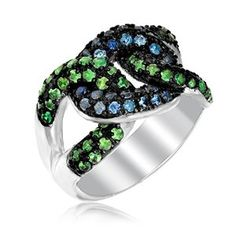 Sterling Silver Knot Ring with Tsavorite and Blue Sapphires available at joyfulcrown.com