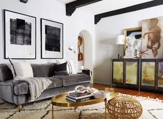 "On the color scheme: ""I would definitely say that my style leans more masculine, casual, and eclectic than it does poppy and bright, so going gray on the walls was a no-brainer for me,"" he said...."