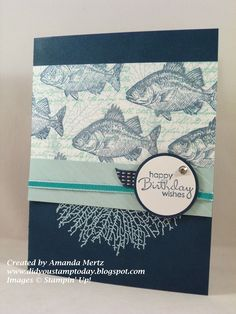 ink: midnight muse, coastal cabana, soft sky, stamp over fish with illuminate ink,
