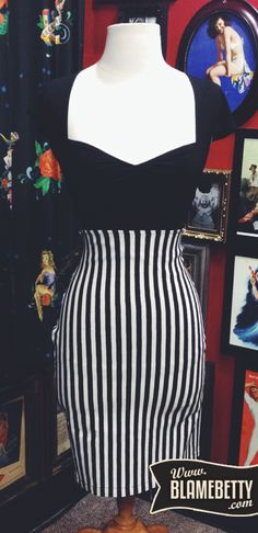 If you've been searching for the perfect high waisted skirt, then look no further! #blamebetty #pinup #stripes