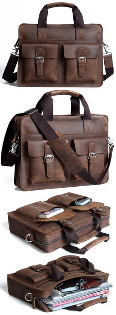 "Vintage Crazy Horse Leather Briefcase / Messenger Satchel / 12"" 13"" Laptop 11"" 13"" MacBook Bag"