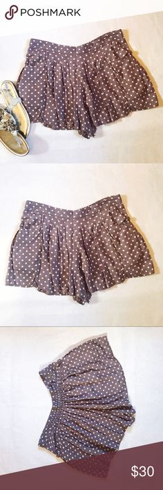 Free People Sheila Polka Dot Ruffle Shorts Lightweight, comfortable and breezy polka dotted shorts from Free People; love these shorts for hot summer days or can be easily paired with black tights and a black moto jacket for cooler nights or to dress it up a little. Size is medium. Free People Shorts