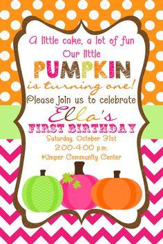 42 best our little pumpkin 1st birthday images on pinterest first birthday little pumpkin invitation in size in orange pink lime and filmwisefo