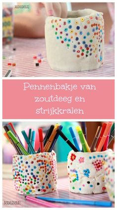 Pencil case make salt dough and ironing beads - Kids Crafts Kids Crafts, Clay Crafts, Diy And Crafts, Arts And Crafts, Pot A Crayon, Iron Beads, Ideias Diy, Air Dry Clay, Clay Projects