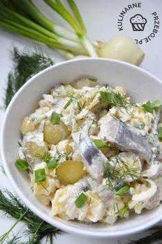 Śledzie po chłopsku - KulinarnePrzeboje.pl Pasta Salad, Potato Salad, Potatoes, Cheese, Ethnic Recipes, Food, Crab Pasta Salad, Potato, Essen