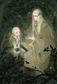 """Thranduil and little Legolas from """"The Hobbit"""" - Art by 布丁"""