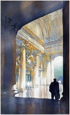 Berliner Dom by Thomas W. Schaller Watercolor ~ 15 x 22