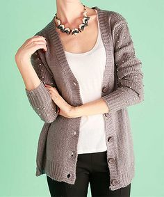 Another great find on #zulily! Lumière Heather Gray Studded Cardigan by Lumière #zulilyfinds