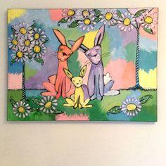 Family Rabbits original acrylic on canvas sparkling pet painting signe – Nettie Price Sparkling Art