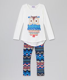 Another great find on #zulily! White Owl Tunic & Blue Zigzag Leggings - Girls #zulilyfinds