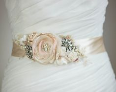 Rustic Bridal sash, Gold Brass Blush Champagne wedding belt, Vintage antiqued gold bridal sash, creamy natural flowers shabby chic on Etsy, $143.00