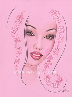 Cherry Blossom Exotic Face   Original Drawing by GinaKingArt, $35.00