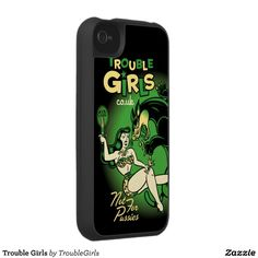 Trouble Girls  Iphone case with artwork by lowbrow artist Sol Rac for fans of old school tattoo art and kustom kulture.