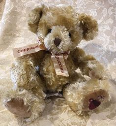 Rare Delicious Cappuccino Teddy Bear Plush Brown Silk Ribbon Russ Berrie  | eBay